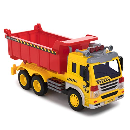 Toy To Enjoy Dump Garbage Truck Toy with Light & Sound – Friction Powered Wheels & Lift Up Bucket - Heavy Duty Plastic Vehicle Toy for Kids & Children