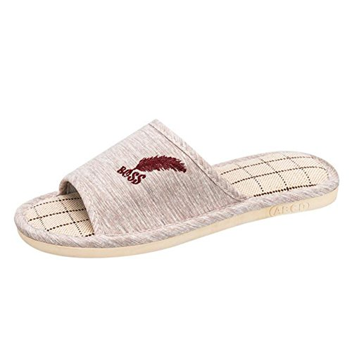 Buganda Dames Heren Katoen Vlas Huis Slippers Casual Open Teen Slippers Antislip Indoor Outdoor Slippers Koffie 1