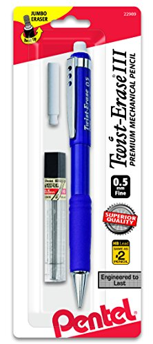 (Pentel Twist-Erase III Mechanical Pencil with Lead and Eraser Refills (QE515LEBP))