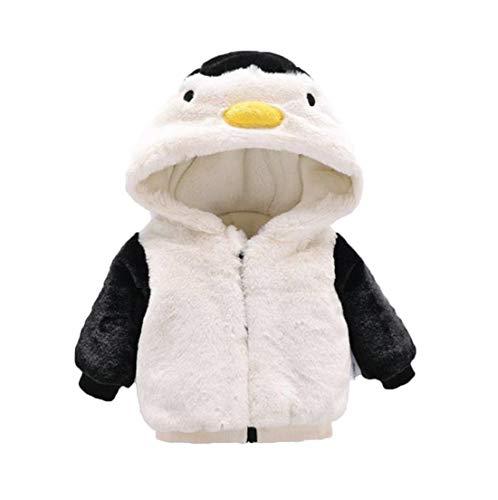 VILOVE Baby Boy Girl Fleece Hoodie Thick Jacket Coat Cartoon Penguin Zip Up Warm Outerwear Clothes White (Hoodie Zip Up Penguin)