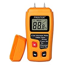Proster Digital Wood Moisture Meter Handheld LCD Moisture Tester Damp Moisture Tester Detector Include 9V Battery with 2 Test Probe Pins for Walls Firewood Paper Humidity Measuring