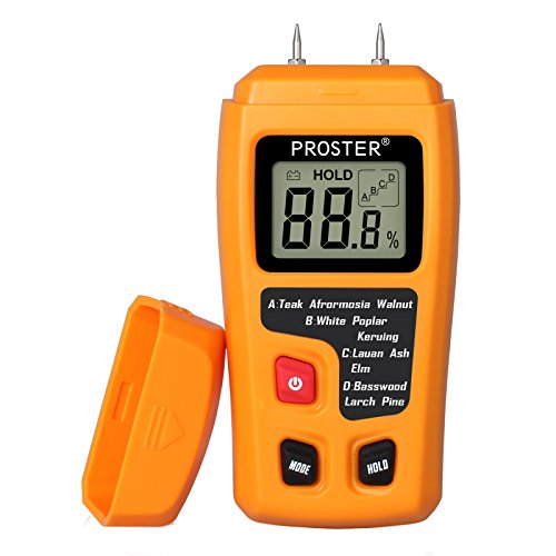 Proster Digital Wood Moisture Meter Handheld LCD Moisture Tester Damp Moisture Tester Detector with 2 Test Probe Pins for Walls Firewood Paper Humidity Measuring by Proster