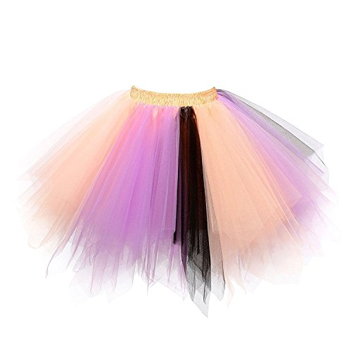 URVIP Women's Vintage 1950s Tutu Multicolor Petticoat Ballet Bubble Dance Skirt Peach Lavender Black L/XL -