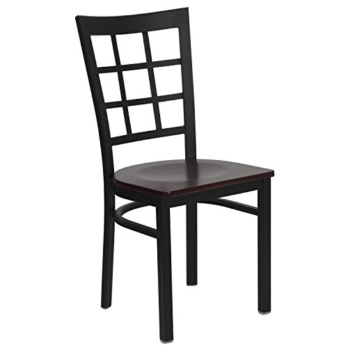 Flash Furniture HERCULES Series Window Back Metal Restaurant Chair - Wood Seat Brown by Flash Furniture