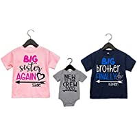 Big Sister Big Brother Shirts- Big Brother Again, Big Sister Again, Big Bro Finally Personalized Set