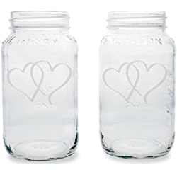 Mason Decorative Jar, Heart Design, Set of 2