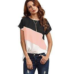 Romwe de la Mujer Color Block Blusa Manga Corta Casual tee Camisas Túnica Tops 3Colores