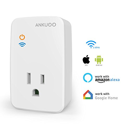 Ankuoo Smart Plug WiFi Outlet Switch Compatible with Alexa,Google Home Wireless Remote Control and Timer Via REC APP
