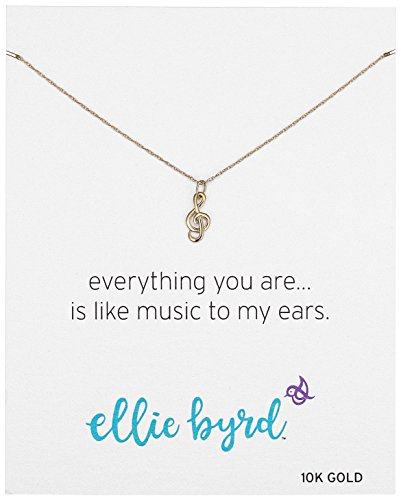 ellie byrd 10k Yellow Gold Musical Note Treble Clef Pendant Necklace, (Yellow Gold Musical Notes)