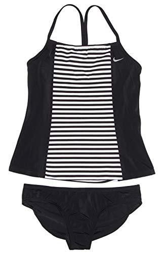 Nike Spandex Cover Up - Nike Women's Tankini Athletic 2-Piece Swimsuit (X-Large, Black/White/Black)