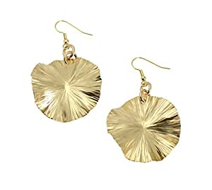 Nu Gold Brass Lily Pad Earrings by John S Brana Handmade Jewelry - High-Quality Durable Brass - Lightweight - Lifetime Guarantee