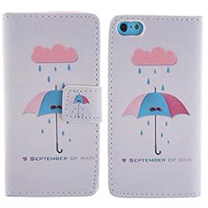 WQQ The Umbrella Pattern PU Leather Full Body Case with Stand and Card Slot for iPhone 5C