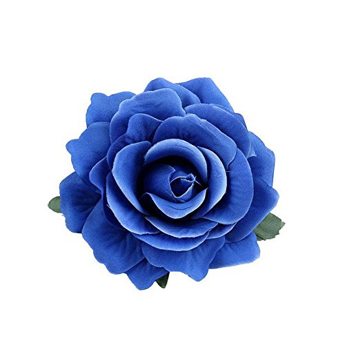 Lovefairy Beautiful Rose Flower Hair Clip Pin up Flower Brooch For Party Travel Festivals (Royal Blue)