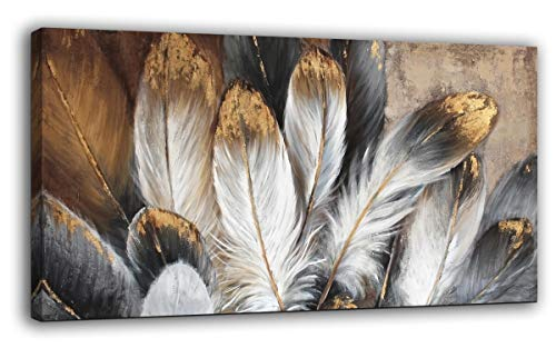 Feather Canvas Wall Art Modern Living Room Bedroom Wall Decoration Large Giclee Print Canvas Painting Artwork for Home Decor One Piece White Gold Brown Feather Picture Ready to Hang 24x48 Size ()