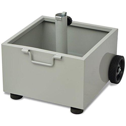 vidaXL Patio Umbrella Base Planter Pot w/Wheels Metal Parasol Stand Gray by vidaXL