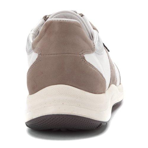 Mephisto Femme Laser Perforé Sneaker Lt Gris / Blanc / Nickel