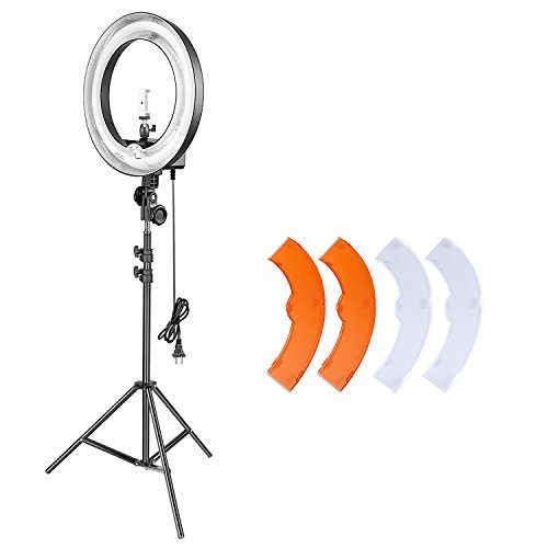 Neewer Video Studio Ring Light and Stand Lighting Kit: 14 inches Outer/10 inches Inner 50W Fluorescent Ring Light, 6.5 feet Light Stand,Ball Head,Cellphone Holder for Camera Smartphone Photography