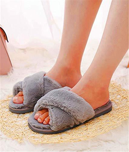Gris Coton SHENHAI 36 en Femmes 37 d'automne Pantoufles Croix Chaudes Pantoufles Pantoufles et d'hiver IZUrxqwZP7