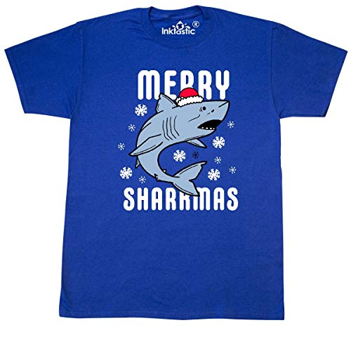 Royal Blue Santa Hats (inktastic Merry Sharkmas with Shark in Santa Hat T-Shirt X-Large Royal)