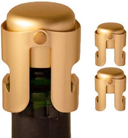 Amica Tapón de champán Dorado (3 Pkg), diseñado en Francia, sellador de Botellas para Cava, Prosecco, Vino espumoso, Chapado en Oro, sin Borde Afilado, pasó la Prueba de presión de 13 LB