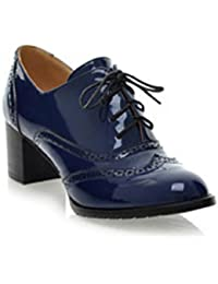 Women Oxfords Shoes Ankle Boots Lace Up Pumps Stacked Heel