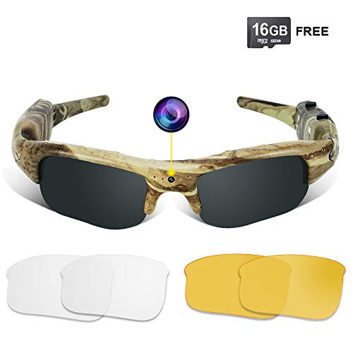 (WISEUP 16GB 1280x720P HD Camo Sunglasses Hidden Camera Hunting Glasses Video Recorder Mini DV Camcorder Support Photo Taking)
