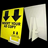 8 1/2 x 11 Cardboard Sign Holder, Includes Display Cover & Business Card Pocket, White (Pack of 25)