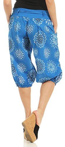 Pantalone Bloomer Stampa Pantalone con Blu corto Baggy malito 3482 Donna Short nIqY00