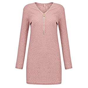 Celucke Women's Sexy Zipper V-Neck Tight Mini Dress, Fashion Solid Color Long Sleeve Tunic Bodycon Cocktail Party Dress