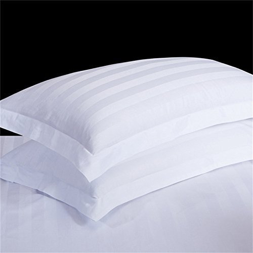 Eyelet Home Décor Hospitality Grade Ultra Comfort 800 Thread Count Egyptian Cotton 2 Piece Pillow Sham Set Standard Size White Stripe