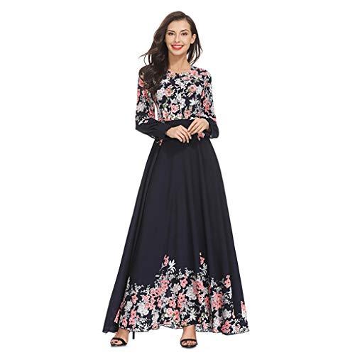 Women Muslim Kaftan Abaya Dress Elegant Floral Printing Summer Casual Flowy Long Maxi Party Cocktail Dresses Navy