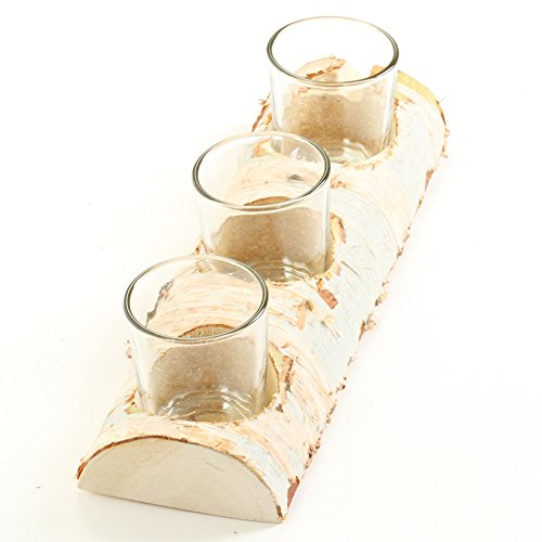 - Koyal Wholesale Birch Wedding Birch Log Candle Holder, Real Wood Decorations, Centerpieces, Log Decor (Birch, 10