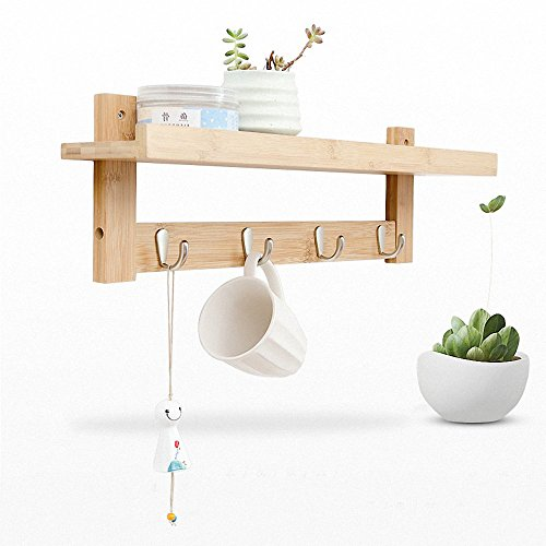 epeanhome Bamboo Wall Shelf,Coat Hook Rack Unibody Construction with 4 Alloy Hooks for Bedroom,Kitchen,Bathroom and Home Decoration (bamboo 4) - Coat Hook Wall Hanging