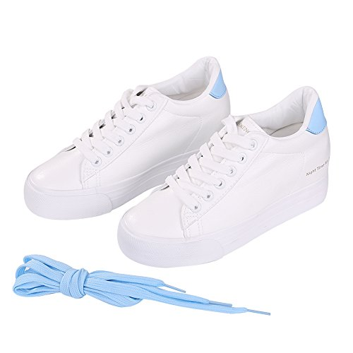 Buganda Womens Casual Leather Sneakers Fashion Lace Up White Shoes Hidden Heel Platform Sneaker Shoes Blue BeCN24