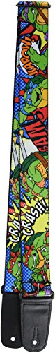 Teenage Mutant Ninja Turtles Ninja Turtles, 2 Inches Wide Guitar Strap-Classic TMNT Poses/Action Bubbles Dots Blues (GS-WNT040) -