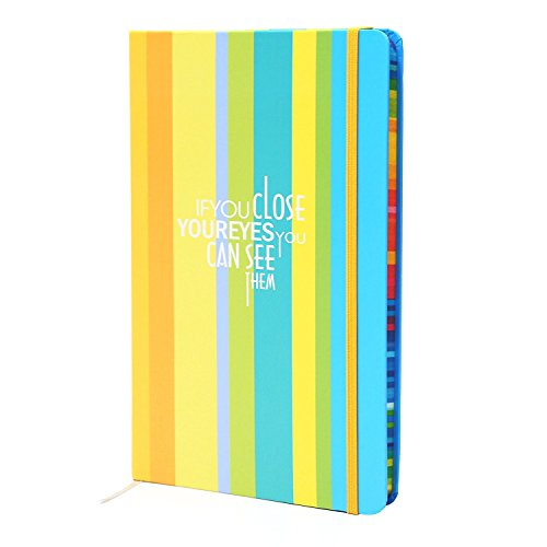 (DUXBITE Notebook Writing Journal | Cute, Bright Color Striped Pattern with Inspirational Saying - for Travel Writing or Personal Planner - Premium Paper & Durable Design - 160 Pages + 8.3 x 5.5 Inch)