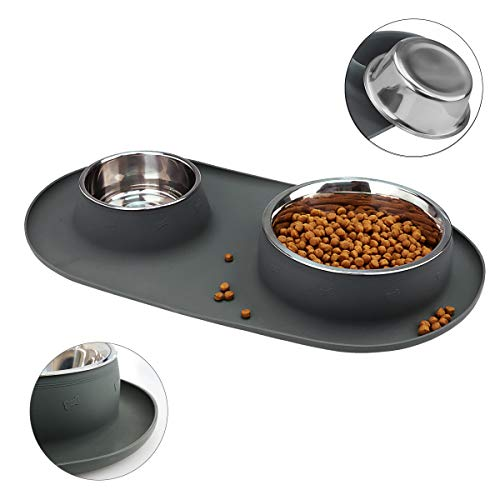 WESEN Dog Bowls, Stainless Steel Dog Bowl with No Spill Non-Skid Silicone Mat, 80 oz Double Feeder Food Water Bowl for Dogs, Puppies, Cats and Pets, Grey, Set of 2