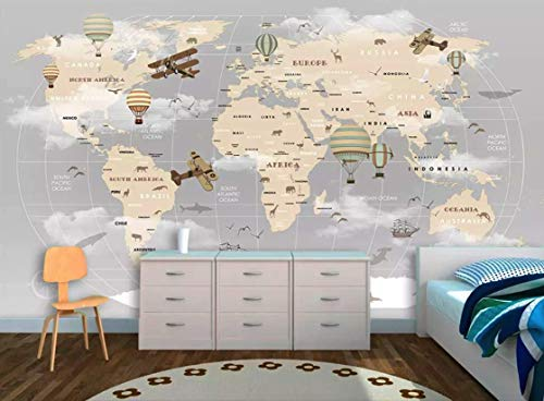 Murwall Kids Map Wallpaper For Child Beige World Map Wall Mural Vintage Map Wall Art Airplane and Hot Air Balloon Wall Print Children ()