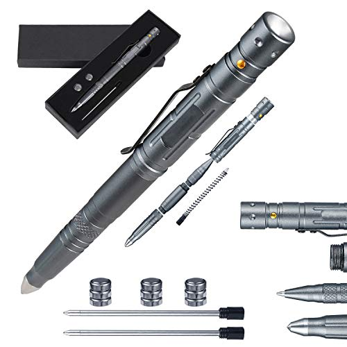 Technical Pens Multi-tool pen for Survival Grade Badass EDC – Tactical Flashlight Glass Breaker Ballpoint Pen Multi Tool – 2 Ink Cartridges 3 Batteries – Gift Boxed