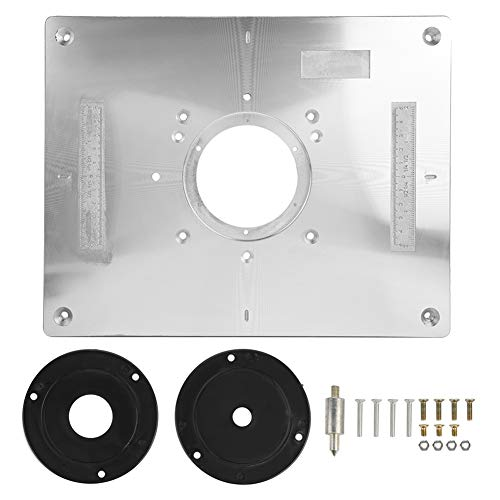 Aluminum Router Table - Zerodis Aluminum Alloy Router Table Insert Plate with Plastic Router Insertion Ring and Install Screws for Woodworking Bench, 300mm x 235mm x 9.5mm
