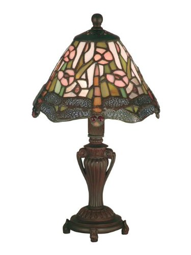 Fine Art Lamps Bronze Table Lamp (Dale Tiffany 8033/640 Dragonfly Accent Lamp, Antique Bronze and Art Glass Shade)