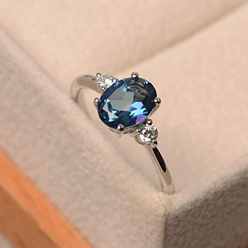 Anniversary oval cut Neptune topaz sterling silver rings ()