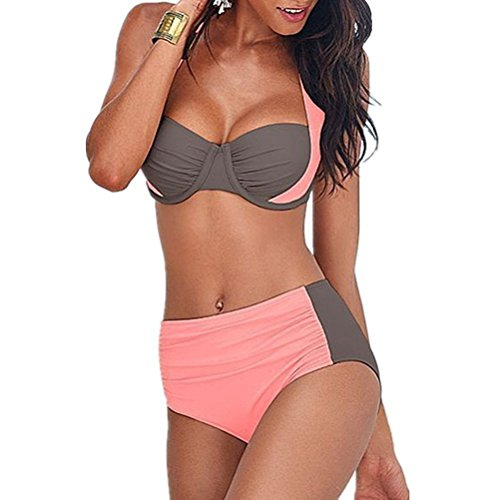 Efanr Women Double Colored Padded Push Up Halter Bikini Bra Set Swimsuit