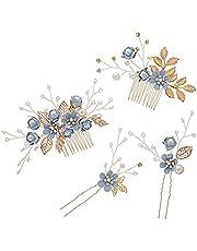 Jtkeji Haarkam, 4 stuks, haarkam voor bruiloft, strass, strass, bruidskam, haarkam, parelkam, haarsieraden, bruidssieraden, (blauw)