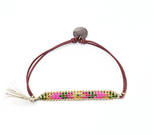 badu-handmade-thin-seed-beads-bracelet-gold-line-multicolor-pink
