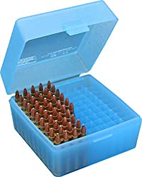 Mtm 100 Round Flip-top Rifle Ammo Box 22-25, 308 W, 243 (Clear Blue)