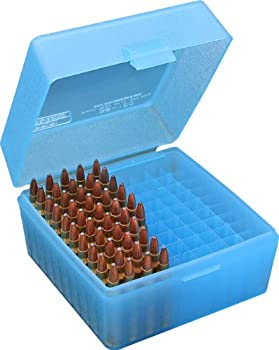 Mtm 100 Round Flip-top Rifle Ammo Box 22-25, 308 W, 243 (Clear Blue) 0