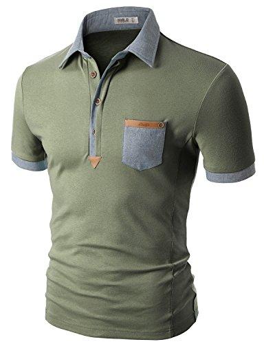 Doublju Mens Short Sleeve t-shirt. plus size KHAKI T-shirts,XL