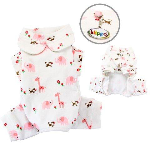 Klippo Pet Knit Cotton Pajamas. Giraffe Monkey Elephant P...