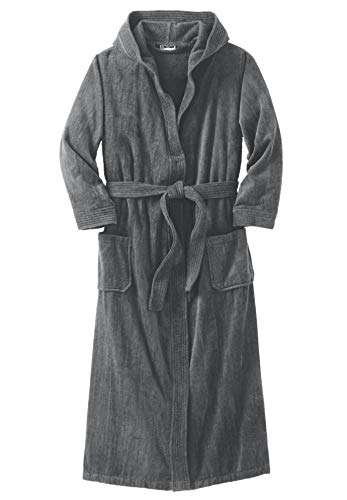 (KingSize Men's Big & Tall Terry Velour Hooded Maxi Robe, Steel Big-3Xl/4X)